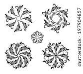 set of floral round vintage... | Shutterstock . vector #197904857