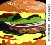 big cheeseburger macro. vector... | Shutterstock .eps vector #1979153297