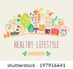 healthy lifestyle background | Shutterstock .eps vector #197916641