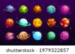 cartoon space planets of vector ...