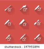 writing tools icons on red | Shutterstock .eps vector #197951894