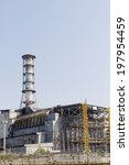 Small photo of Chernobyl nuclear reactor 4, the place of biggest nuclear disaster. It was covered with sarcophagus to prevent radion after the disaster on 26.04.1986.