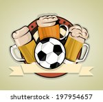 soccer beer background | Shutterstock .eps vector #197954657