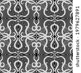 black and white floral lines...   Shutterstock .eps vector #1979627891