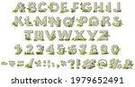 cartoon rock alphabet font with ...