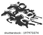 Stock vector horse racing illustration of horse racing at full speed black vector illustration on white 197973374