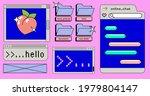 retrowave style desktop with...