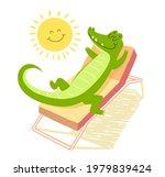 Crocodile Sunbathing On A...
