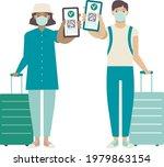 travelers showing health...   Shutterstock .eps vector #1979863154