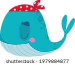 funny pirate whale in a red...   Shutterstock .eps vector #1979884877
