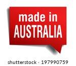 made in australia red 3d... | Shutterstock .eps vector #197990759