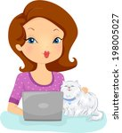Stock vector illustration of a woman checking the website of a shop that provides pet services 198005027