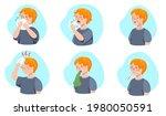 set of boy sickness symptoms.... | Shutterstock .eps vector #1980050591