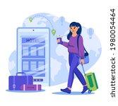 travel agency concept. woman... | Shutterstock .eps vector #1980054464