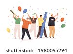 happy people celebrating... | Shutterstock .eps vector #1980095294