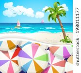 summer beach covered with... | Shutterstock .eps vector #198011177