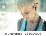 beautiful young blonde short... | Shutterstock . vector #198014009