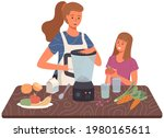 mom and daughter are cooking...   Shutterstock .eps vector #1980165611