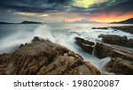 Ocean Waves Crashing Onto The...