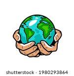 hands holding earth globe.... | Shutterstock .eps vector #1980293864