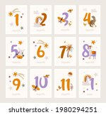 baby milestone cards with cute...   Shutterstock .eps vector #1980294251