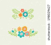set of two decorative floral... | Shutterstock .eps vector #198029627