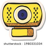 hand drawn webcam icon in...