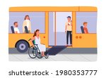 disabled girl in wheelchair at...   Shutterstock .eps vector #1980353777
