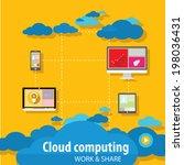 flat cloud computing concept...