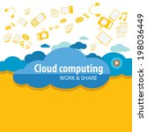 flat cloud computing concept...