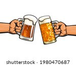 two hands holding toasting beer ...   Shutterstock .eps vector #1980470687