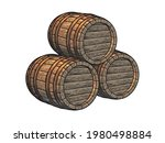 three stacked wooden barrels...   Shutterstock .eps vector #1980498884