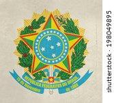 grunge brazil coat of arms... | Shutterstock . vector #198049895