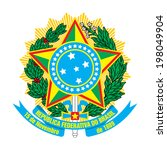brazil coat of arms isolated on ... | Shutterstock . vector #198049904