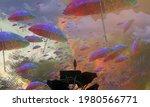 Flying Umbrella. Abstract Dream ...