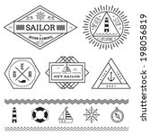 set of nautical vintage badges... | Shutterstock .eps vector #198056819