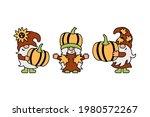 Three Gnomes With Pumpkins ...