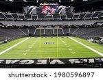 Small photo of LAS VEGAS, NEVADA. May 26, 2021: Allegiant Stadium Shown On Las Vegas Raiders Season Ticket Holder Seat Visit Day