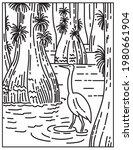 great egret wading in mangrove... | Shutterstock .eps vector #1980661904