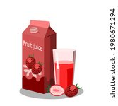 strawberry juice in a glass and ... | Shutterstock .eps vector #1980671294
