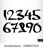 calligraphic watercolor numbers   Shutterstock .eps vector #198067424