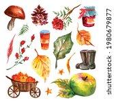 Set Of Watercolor Autumn...