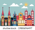 christian worship building with ... | Shutterstock .eps vector #1980696497