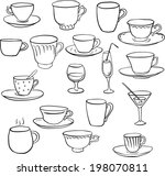 set of line drawing teacups, vector illustration