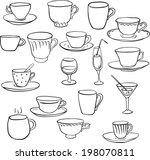 set of line drawing teacups ... | Shutterstock .eps vector #198070811
