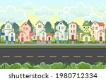 Street. Cartoon Houses With A...