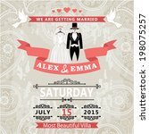 retro wedding invitation with... | Shutterstock .eps vector #198075257