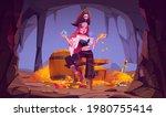 Pirate Girl In Treasure Cave ...