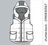 hooded vest drawing. zip up... | Shutterstock .eps vector #1980830567