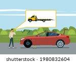 a man calls a tow truck near a...   Shutterstock .eps vector #1980832604